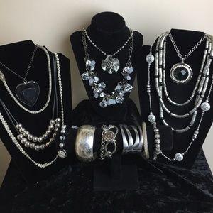 Silver tone statement jewelry bundle 16 pieces